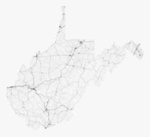 Roads of West Virginia. (Black on white) by Graphical-Maps