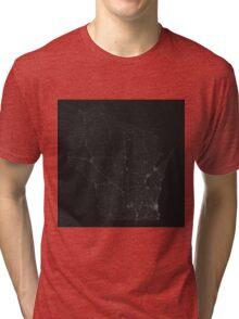 Roads of Wisconsin. (White on black) Tri-blend T-Shirt