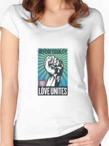 Defend equality, love unites Women's Fitted Scoop T-Shirt