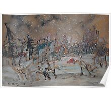 Snowing Landscape Poster