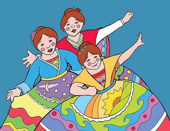 Three Dancing Ladies by M McKeithen