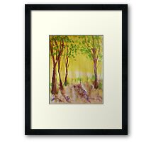 Grove of trees, watercolor Framed Print