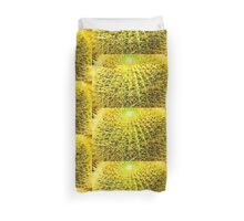 Psychedelic Golden Ball Barrel Cactus Spikes Close-up Duvet Cover