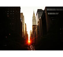 Manhattanhenge Sunset Looking Down 42nd Street Photographic Print