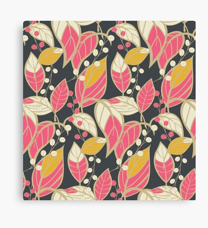 Seamless floral pattern with hand drawn leaves Canvas Print