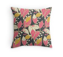 Seamless floral pattern with hand drawn leaves Throw Pillow