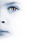 Child&#x27;s face, colorful eye and map by Olga Altunina