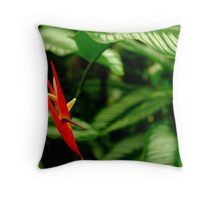 red flame amongst the green of life Throw Pillow