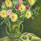 Country Bunch in Green Vase by Martha Mitchell