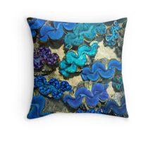 Blue Clams Throw Pillow