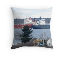 Passing Ships on The St Lawrence Seaway Throw Pillow