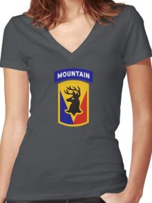 86th Infantry Brigade Combat Team 'The Vermont Brigade' (Mountain) US Army Women's Fitted V-Neck T-Shirt