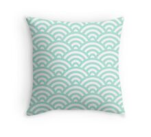 Mint Japanese Inspired Waves Shell Pattern Throw Pillow