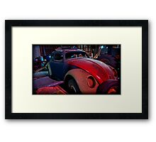 he leans against the car doors and feels the blood in his shoes Framed Print