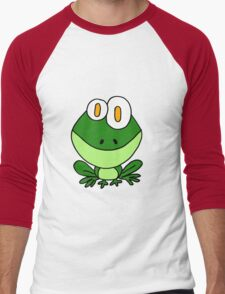 Funky Sitting Green Frog Cartoon Men's Baseball ¾ T-Shirt