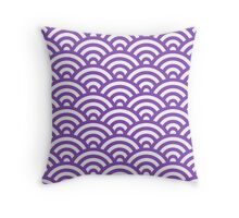 LightPurple Japanese Inspired Waves Shell Pattern Throw Pillow