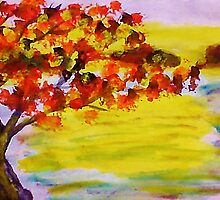 Fall leaves, watercolor by Anna  Lewis, blind artist