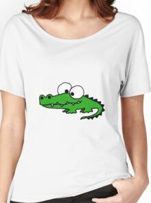 Funky Goofy Alligator Cartoon Women's Relaxed Fit T-Shirt