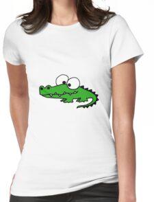 Funky Goofy Alligator Cartoon Womens Fitted T-Shirt
