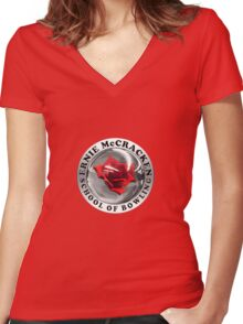Kingpin - Ernie McCracken School of Bowling Women's Fitted V-Neck T-Shirt