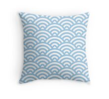 LightBlue Japanese Inspired Waves Shell Pattern Throw Pillow