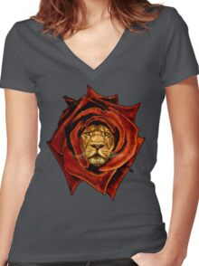 the Lion Rose Women's Fitted V-Neck T-Shirt