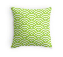 LimeGreen Japanese Inspired Waves Shell Pattern Throw Pillow