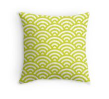 Chartreuse Japanese Inspired Waves Shell Pattern Throw Pillow