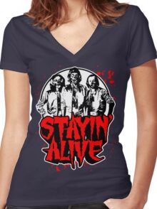 Stayin' Alive 2 (Zom-Bee Gees) Women's Fitted V-Neck T-Shirt