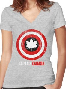Captain Canada Women's Fitted V-Neck T-Shirt