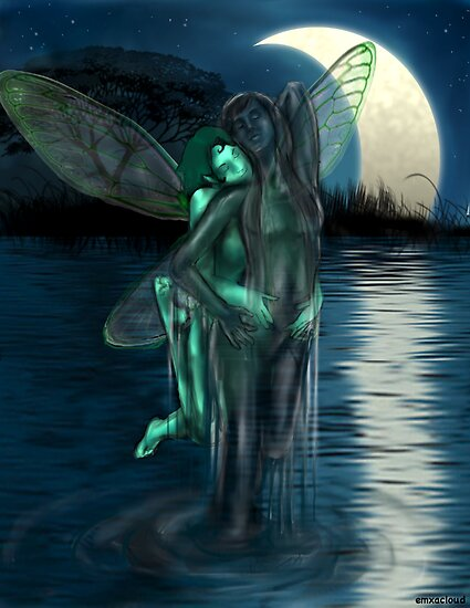 Secret Rendezvous, A Tree Sprite & Water Nymph by emxacloud
