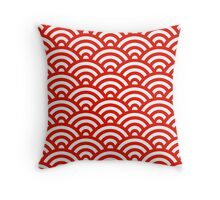 Red Japanese Inspired Waves Shell Pattern Throw Pillow
