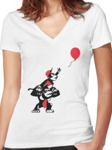 Balloon Apes Women's Fitted V-Neck T-Shirt