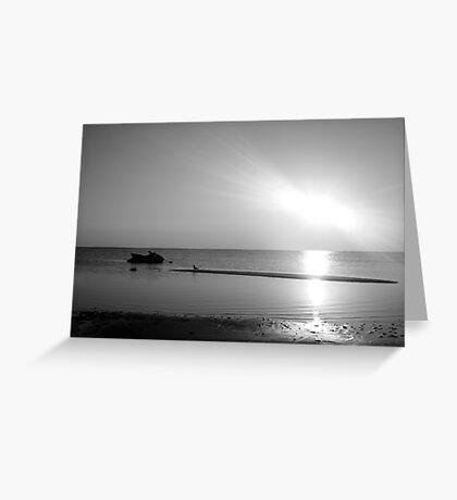 Jet ski waits for another day Greyscale Greeting Card