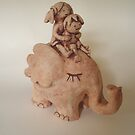 Flying elephant-handmade by Heidi Wolfenden by Heidi Wolfenden