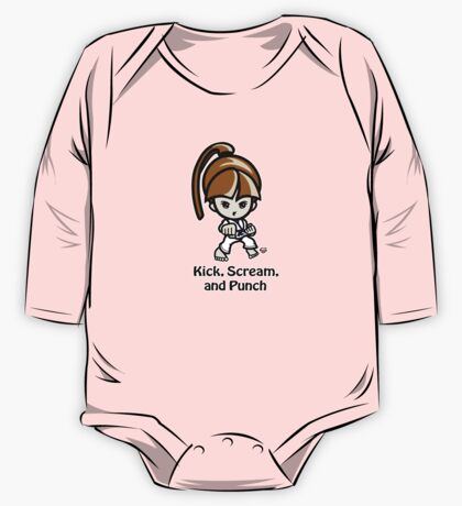 Martial Arts/Karate Girl - Front punch - Kick, Punch, Scream One Piece - Long Sleeve