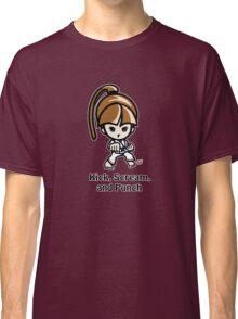 Martial Arts/Karate Girl - Front punch - Kick, Punch, Scream Classic T-Shirt