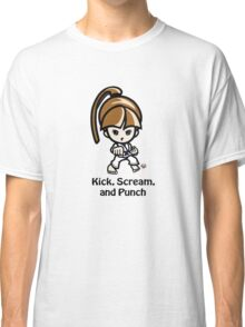 Martial Arts/Karate Girl - Front punch - Kick, Punch, Scream Classic T-Shirt