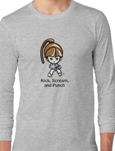 Martial Arts/Karate Girl - Front punch - Kick, Punch, Scream Long Sleeve T-Shirt