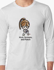 Martial Arts/Karate Girl - Front punch - Kick, Punch, Scream T-Shirt