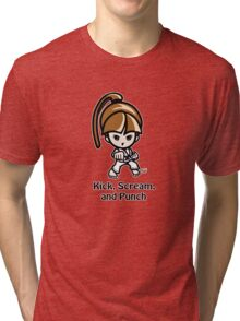 Martial Arts/Karate Girl - Front punch - Kick, Punch, Scream Tri-blend T-Shirt