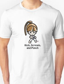 Martial Arts/Karate Girl - Front punch - Kick, Punch, Scream T-Shirt