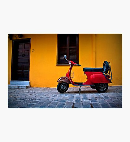 RED VESPA OLD VINTAGE RETRO Photographic Print
