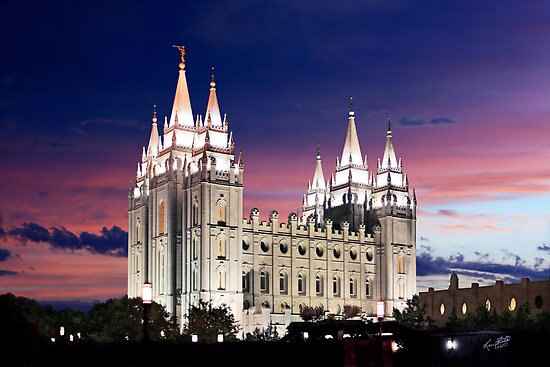 Salt Lake Temple Summer Sunset 20x30 by Ken Fortie