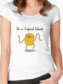 Adventure Time On a Tropical Island Women's Fitted Scoop T-Shirt