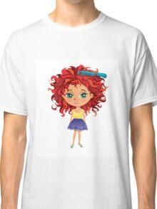 Redhead girl standing with hair brush Classic T-Shirt