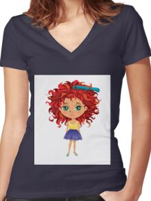 Redhead girl standing with hair brush Women's Fitted V-Neck T-Shirt