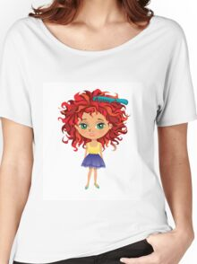 Redhead girl standing with hair brush Women's Relaxed Fit T-Shirt