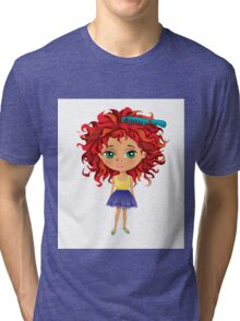 Redhead girl standing with hair brush Tri-blend T-Shirt