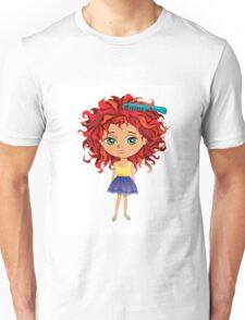 Redhead girl standing with hair brush Unisex T-Shirt